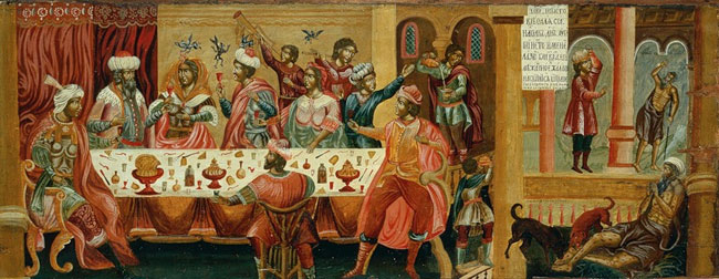 Икона к притче о богатом и Лазаре