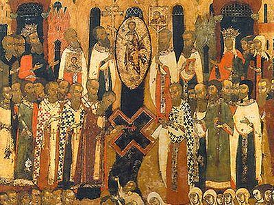 Происхождение (изнесение) Честных Древ Животворящего Креста Господня (икона)